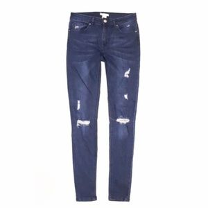 H&M High Waisted Distressed Ripped Skinny Jeans